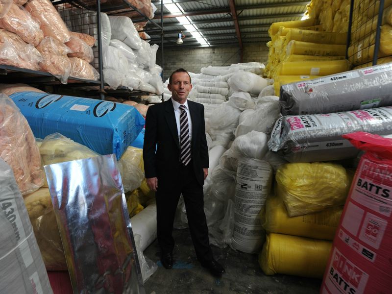 Prime Minister Tony Abbott visits a home insulation batts factory