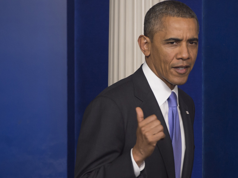 US President Barack Obama in the Press Briefing Room on Wednesday