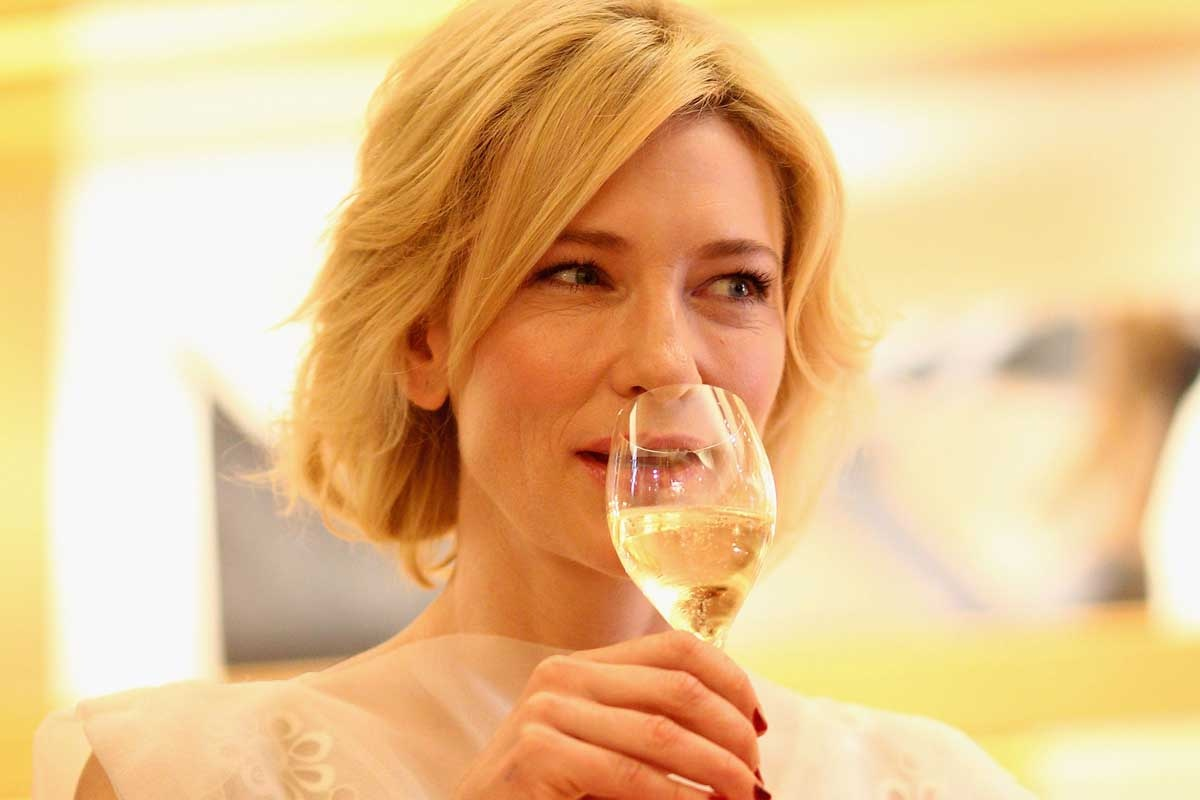 Cate Blanchett drinking wine