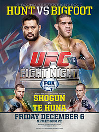The event poster (USA version) for UFC Fight Night: Hunt vs Bigfoot.