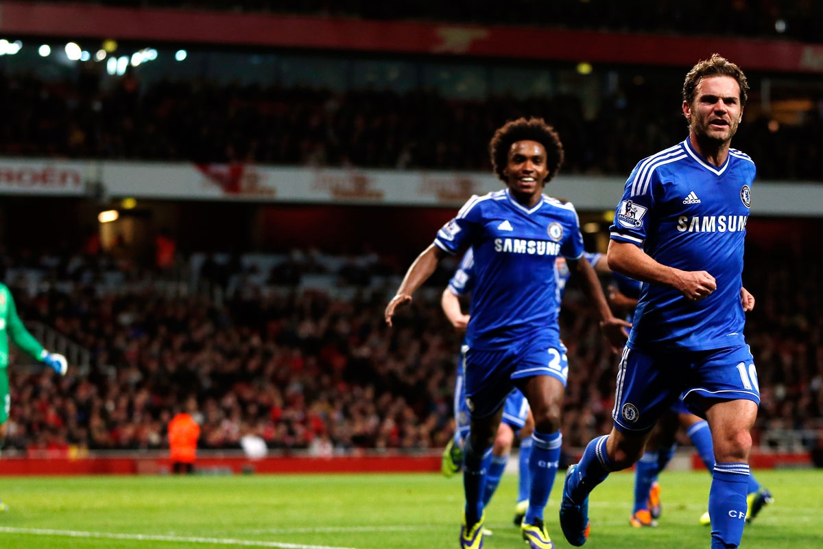 Juan Mata celebrates after scoring a goal for Chelsea against Arsenal