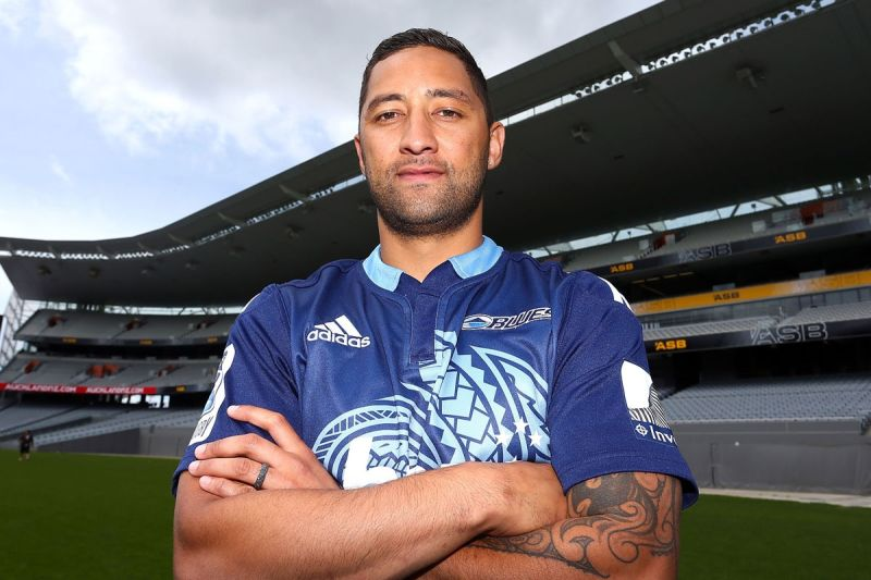 Benji Marshall posing in his new Blues' jersey