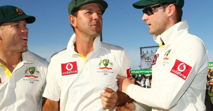 Ricky Ponting and Michael Clarke after Ponting's final Test
