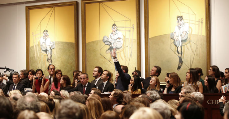 The auction for Three Studies of Lucian Freud by Francis Bacon