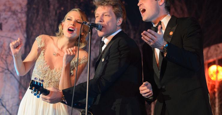 (L-R) Taylor Swift, Jon Bon Jovi and Prince William