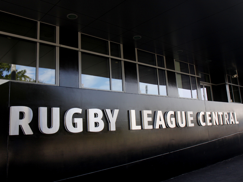 The entrance to Rugby League Central in Sydney