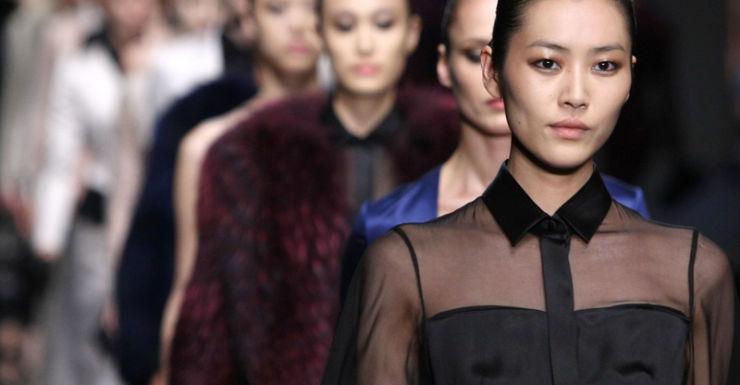 Models during a Hugo Boss fashion show