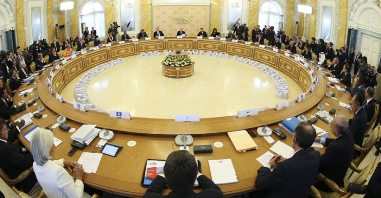 A view of the first working session of the G20 Summit in Russia