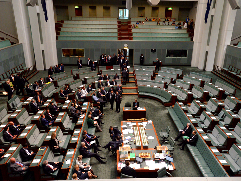 The lower house during a division in the repeal of the carbon tax