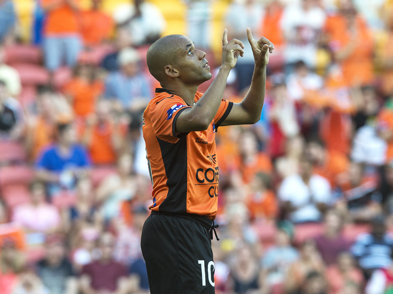 Brisbane Roar star Henrique celebrates after scoring