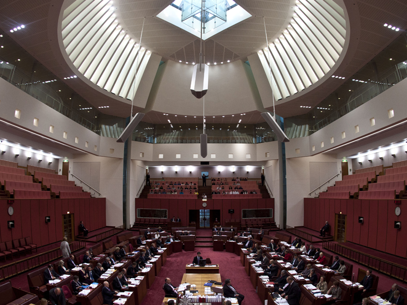 Overview of the Senate during question time in Canberra