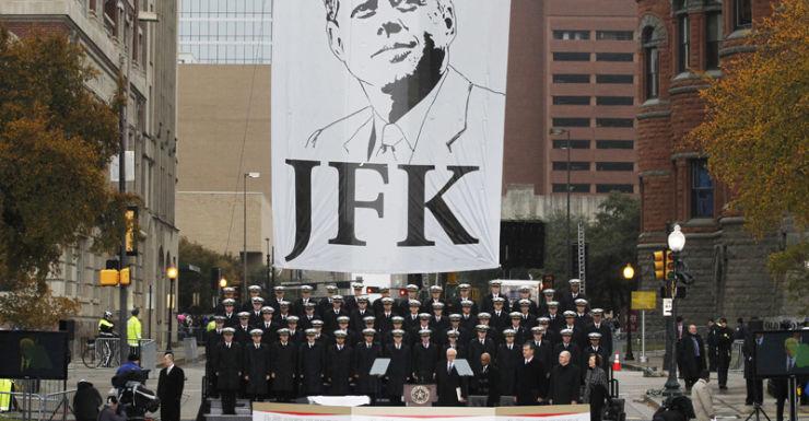A ceremony at Dealey Plaza in Dallas