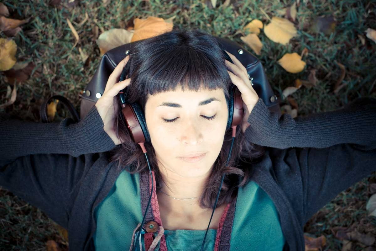 girl relaxing with headphones