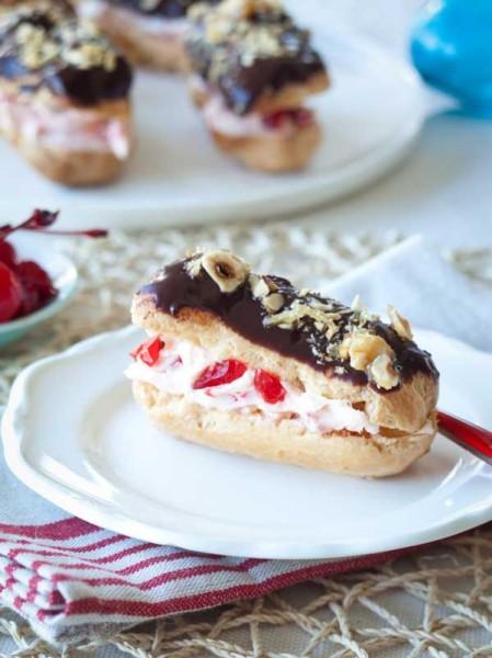 Ed Halmagyi's Mascarpone-maraschino cherry éclairs with bitter chocolate and praline.