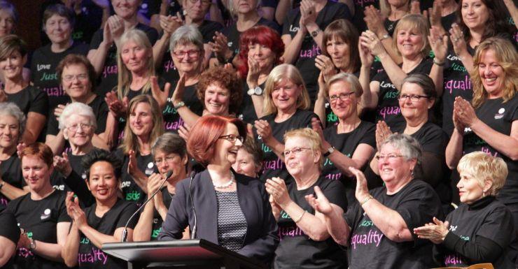 Julia Gillard gets a rapturous reception from members of the Victorian Women's Trust.