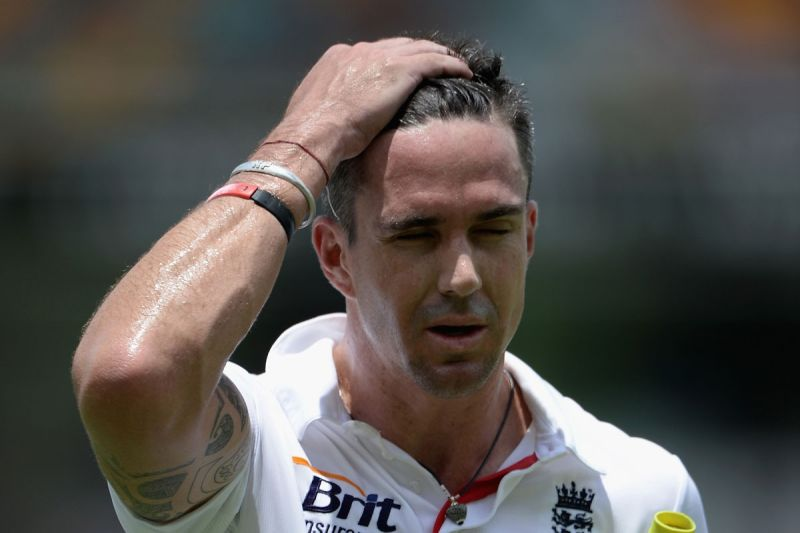Kevin Pietersen after being removed by Mitchell Johnson.