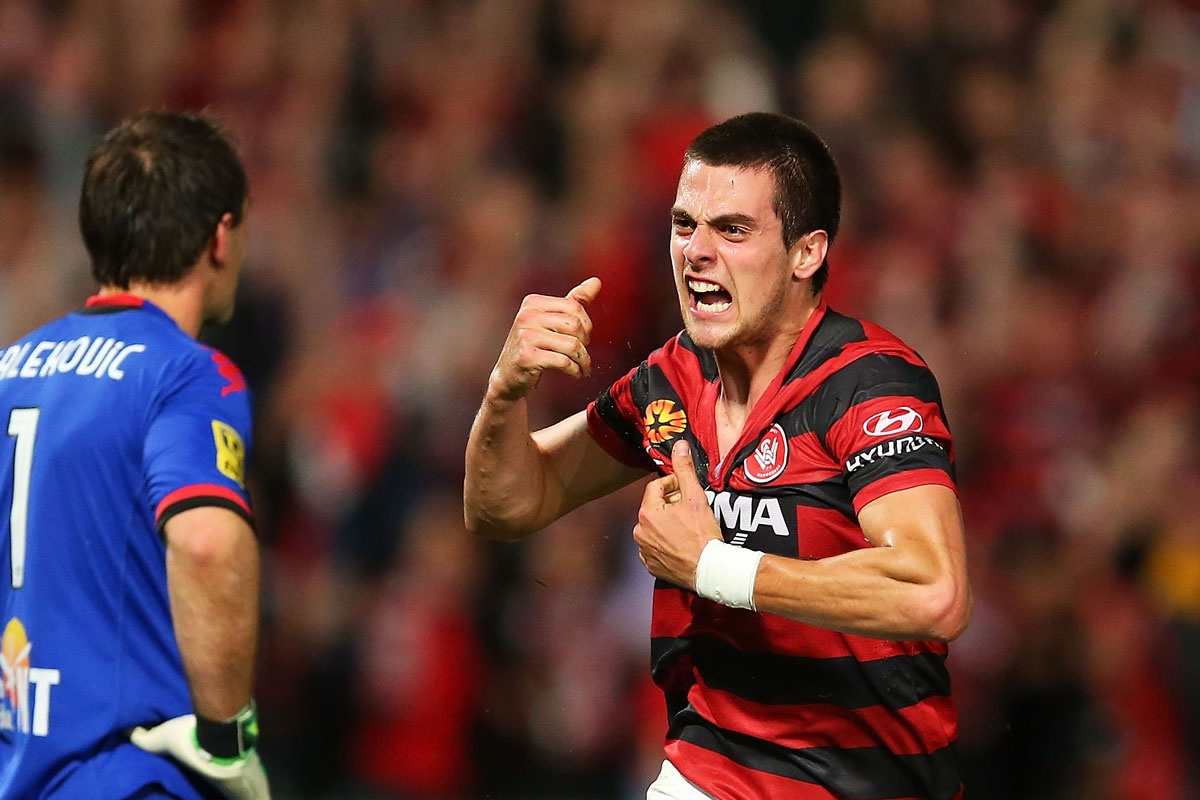 Tomi Juric reacts after scoring a goal