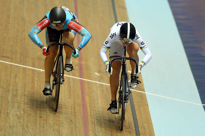 Anna Meares is beaten in the sprint by Britain's Becky James