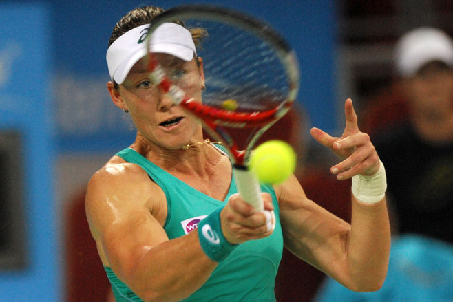 Samantha Stosur in her losing final against Romania's Simona Halep.