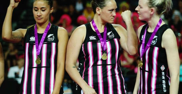 The New Zealanders celebrate after beating Australia in the Fast5 netball.