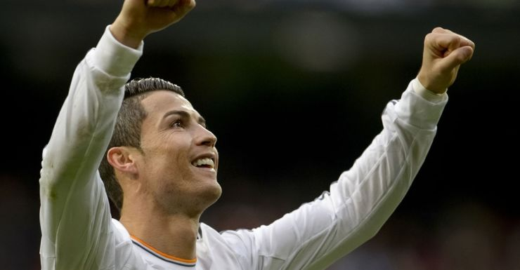 Real Madrid's Cristiano Ronaldo celebrates after scoring in Madrid.