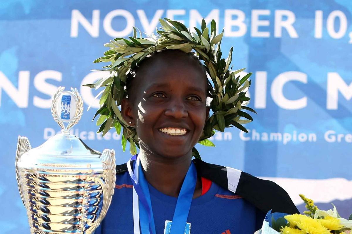 Nancy Joan Rotich of Kenya celebrates after winning the Athens marathon.