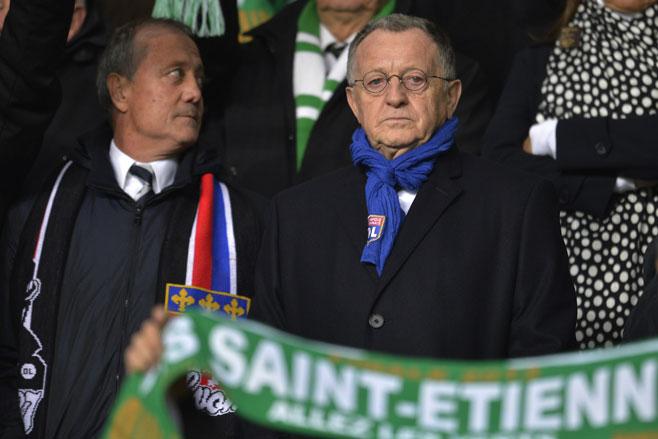 Lyon president Jean-Michel Aulas (in glasses).
