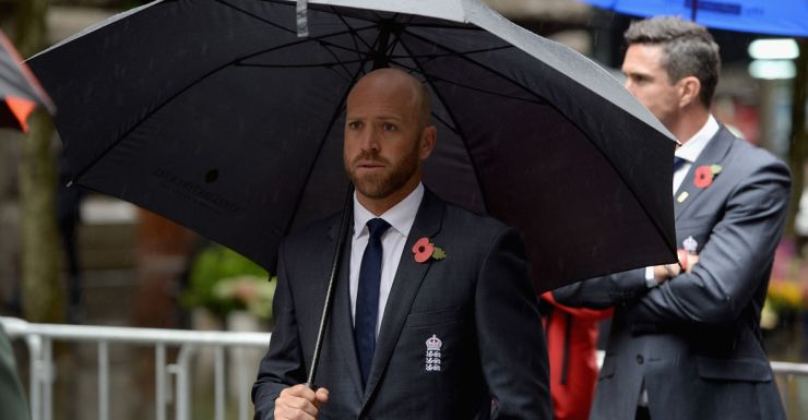 Matt Prior attends a Remembrance Day service in Sydney.