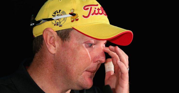 Jarrod Lyle wipes away a tear