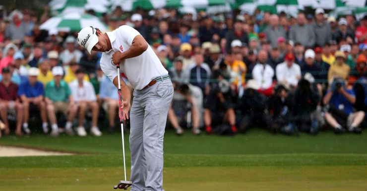 Adam Scott winning the US Masters with his broomstick putter.