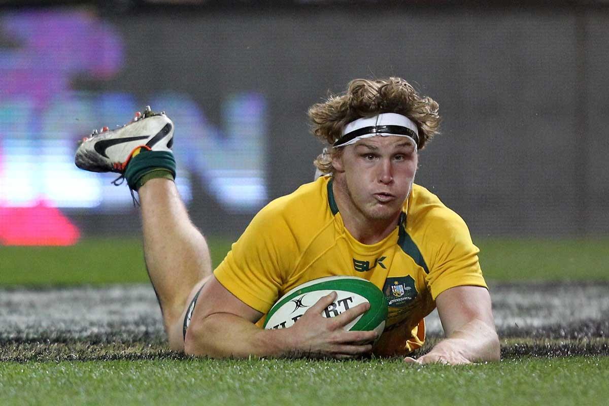 Michael Hooper scores Australia's second try against Ireland.