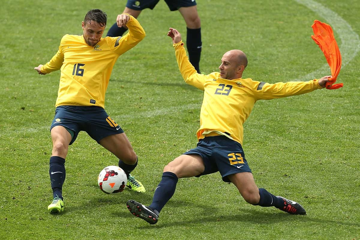 Marco Bresciano training with the Socceroos squad.