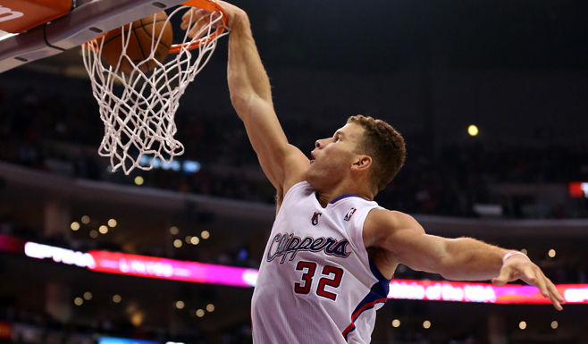Blake Griffin of the Los Angeles Clippers dunks against the Brooklyn Nets.