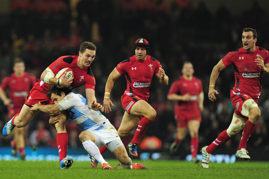 Wales player George North in action against Argentina.