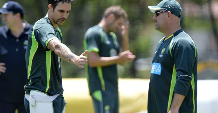 Mitchell Johnson training in Brisbane ahead of the first test.