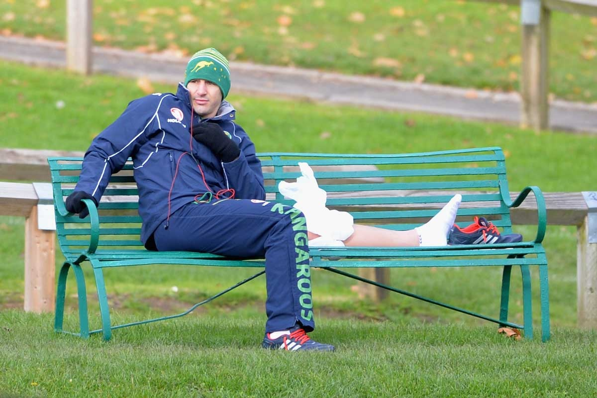 Billy Slater watches his teammates train last week.