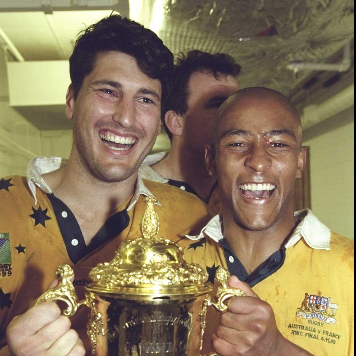John Eales and George Gregan after winning the 1999 World Cup.