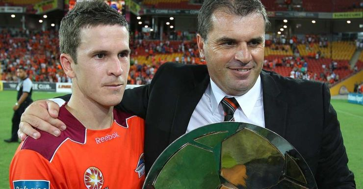 The old firm: Ange Postecoglou and Matt McKay in Brisbane days.