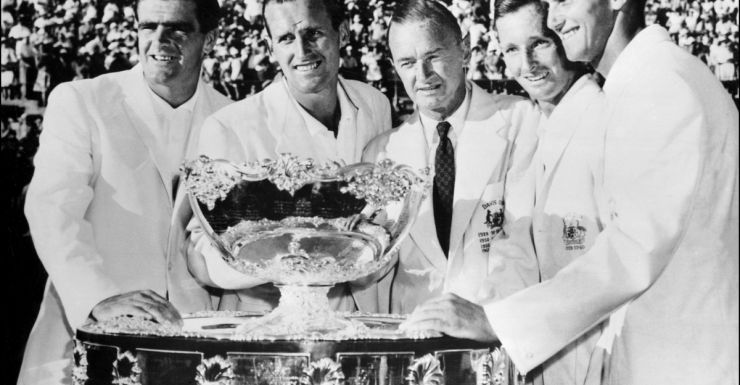 Harry Hopman flanked by (from left) Bob Mark, Neale Fraser, Rod Laver and Roy Emerson.