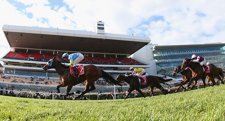 Longport wins at Flemington over 1400m on Emirates Stakes Day.