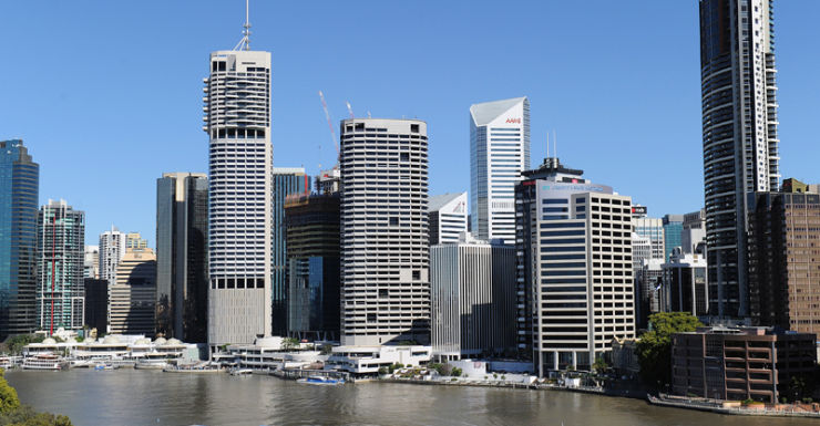 Brisbane's CBD on the bank of the Brisbane River.