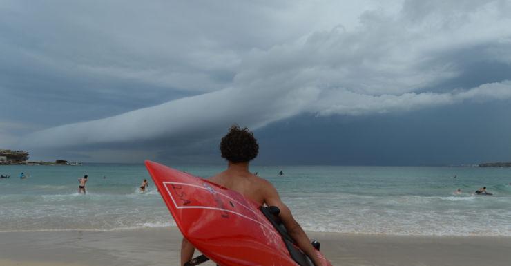 A storm front heads towards Bondi Beach in Sydney