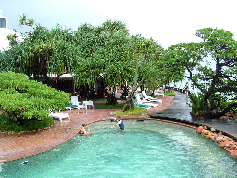 A pool area of the Heron Island Resort