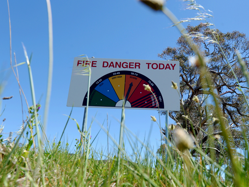 A sign indicating the fire danger of the day