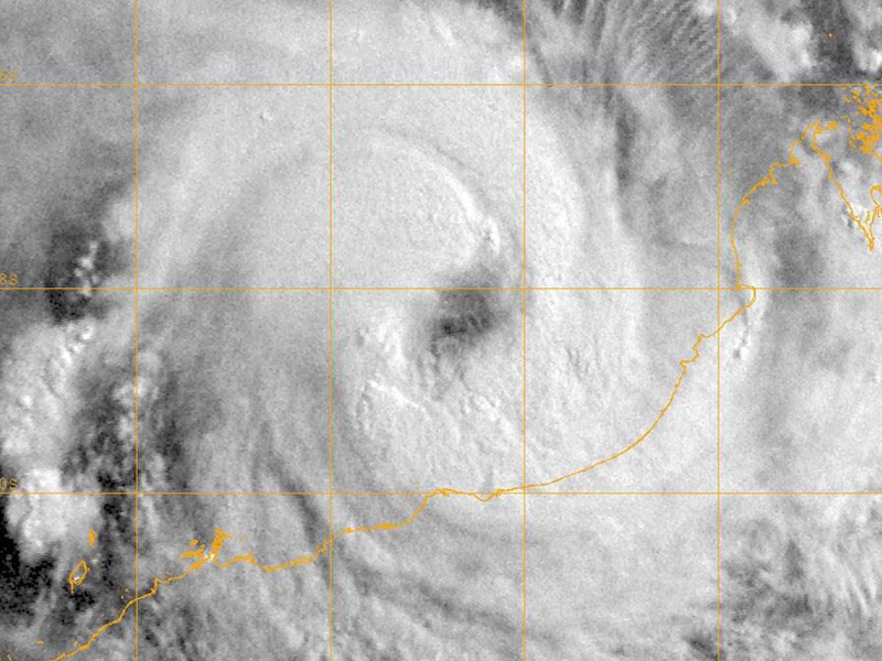 A satellite image of a tropical cyclone