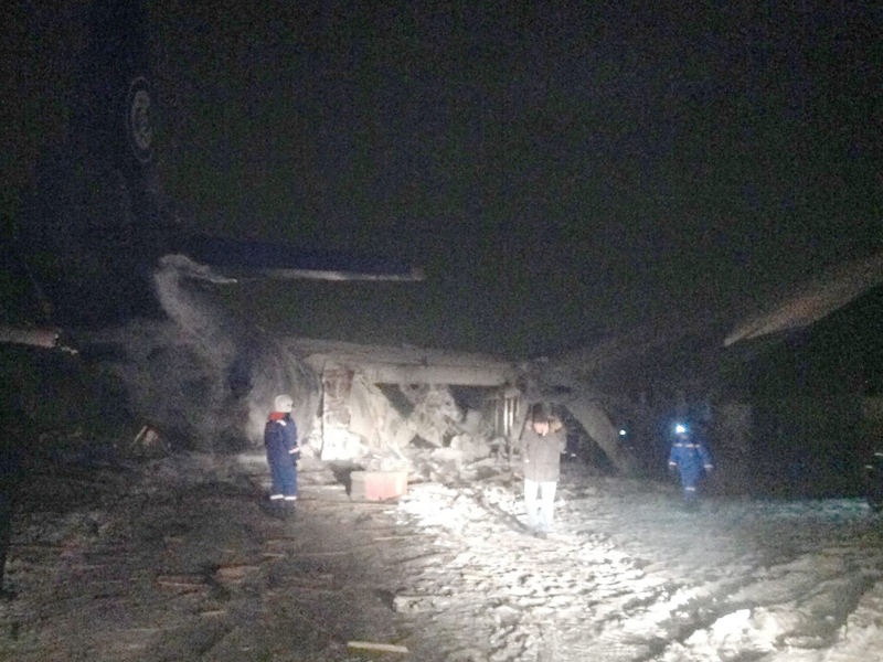 The scene of an airplane crash in Siberia, Russia