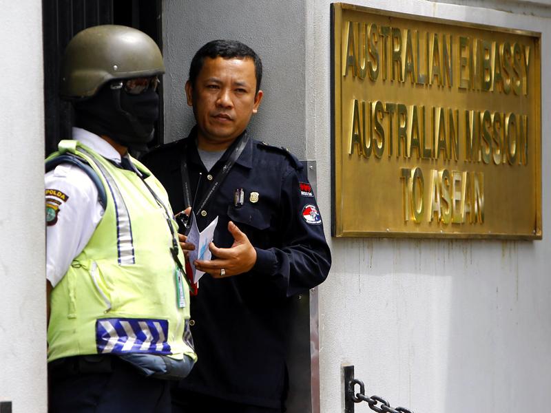 Police outside the Australian embassy in Jakarta