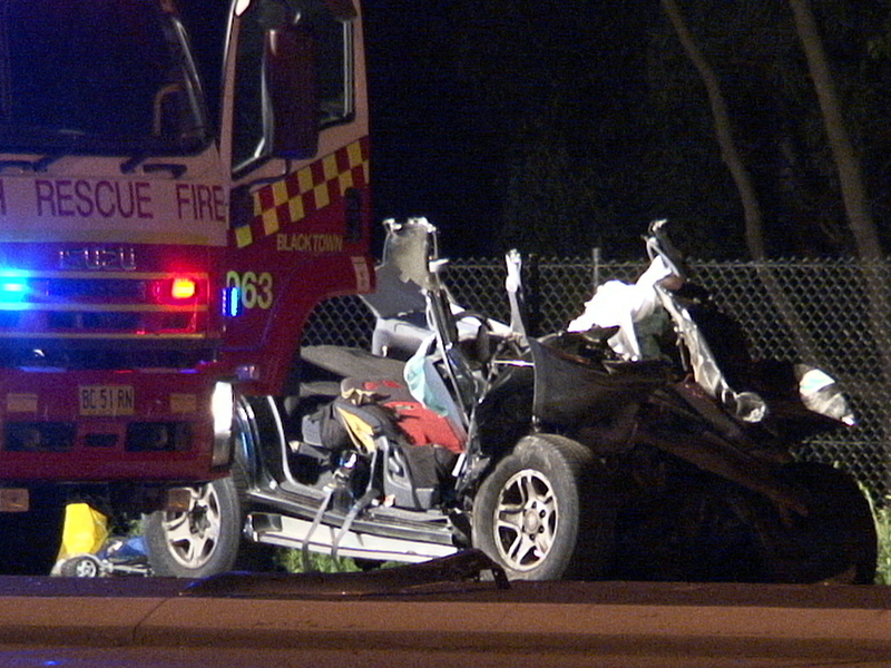 The scene of a car crash in Eastern Creek, Sydney