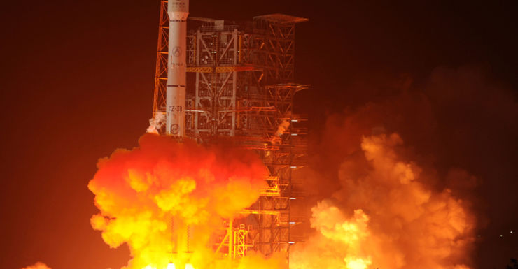 The Chang'e-3 rocket blasts off in the southwest province of Sichuan