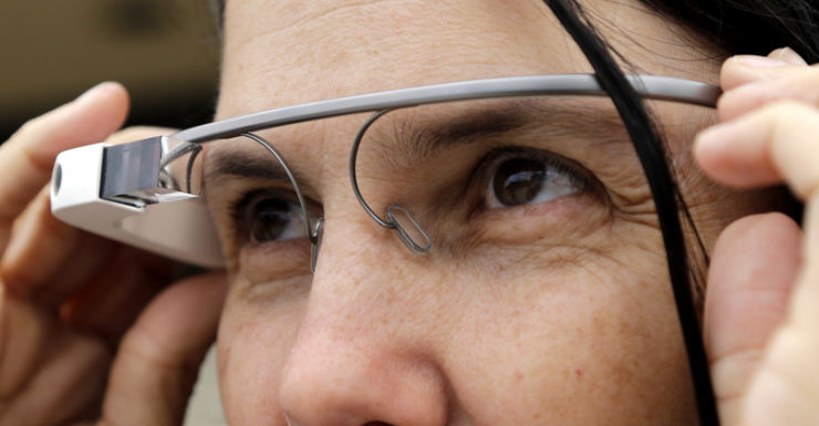 Cecilia Abadie models her Google Glass outside court